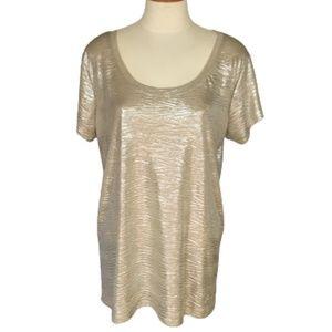 Seven7 Gold Metallic Top Size XL